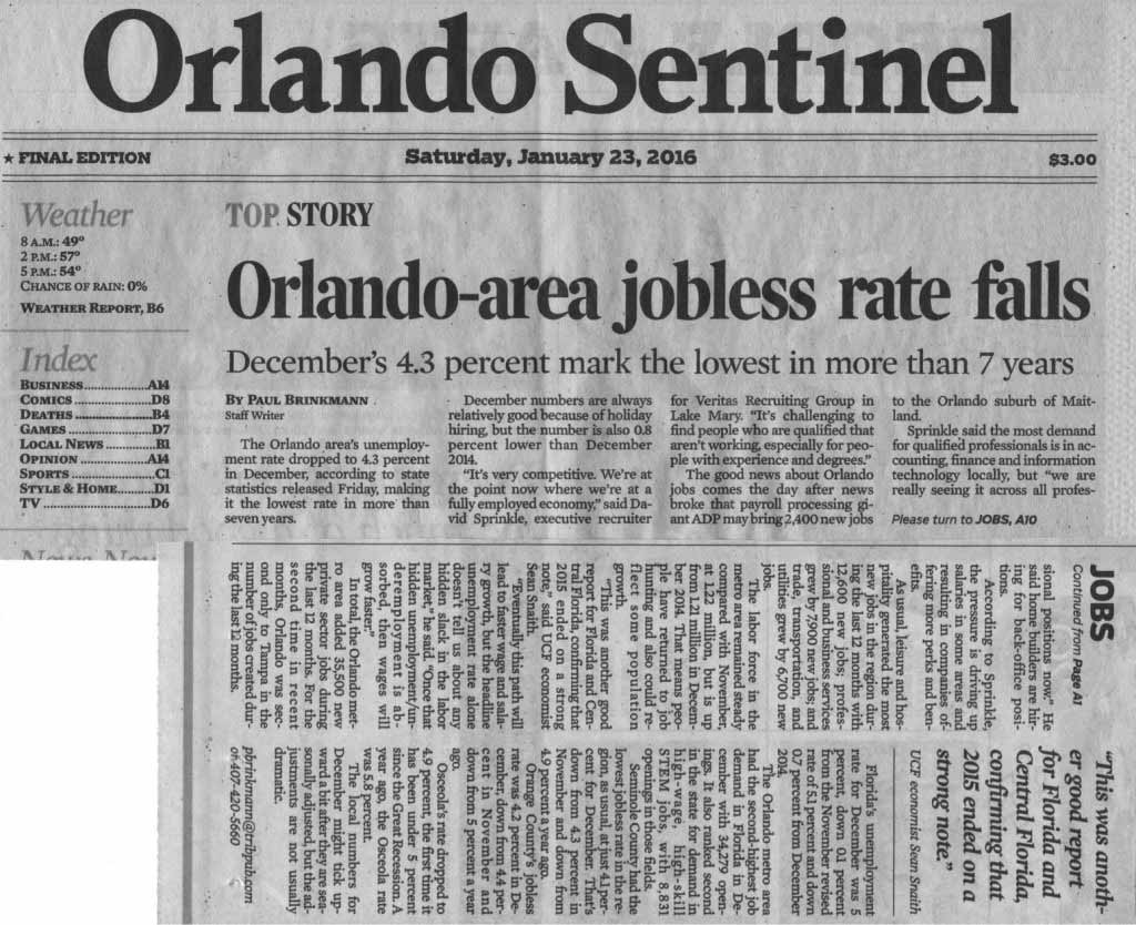 Article in the Orlando Sentinel: Orlando-Area Jobless Rate Falls